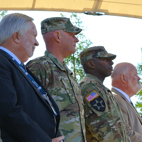 President Keel stands alongside our military guests for the opening ceremony for the Walk 2 Remember Awareness Rally, held at the D. Doug Bernard Jr. Amphitheatre, on Augusta University's Summerville Campus