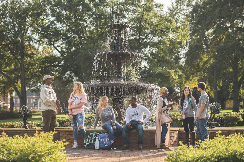Students around the fountain