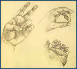 "Artwork: ""Hands"" by Jennifer Darcy, Class of 2004, rendered in graphite."