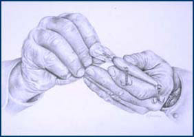 "Artwork: ""Hands with Fishing Lure,"" by Kristen Larson, Class of 2006, rendered in graphite."