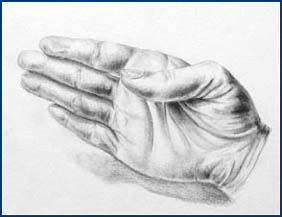 "Artwork: ""Hand,"" by Alissa Hogan, Class of 2006, rendered in graphite."
