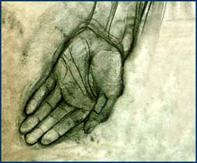 "Artwork: ""Hand,"" by Thomas Brown, Class of 2005, rendered in charcoal."