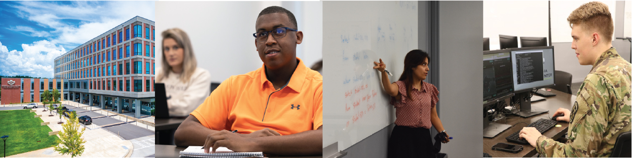 Collage of the faculty, staff and students in the new facilities at Augusta University's College of Cyber and Computer Sciences