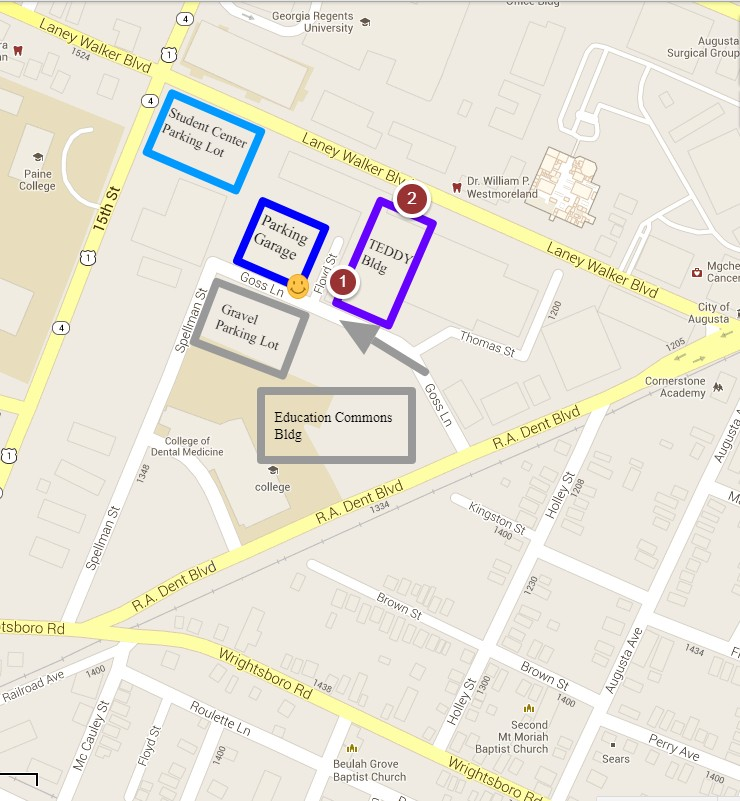 map to goss lane parking deck