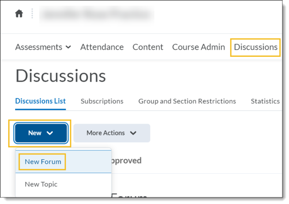 Screen shot shoowing New and New Forum buttons highlighted in D2L