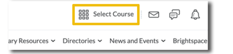 Image showing the select a course button at the top of the page highlighted in yellow.