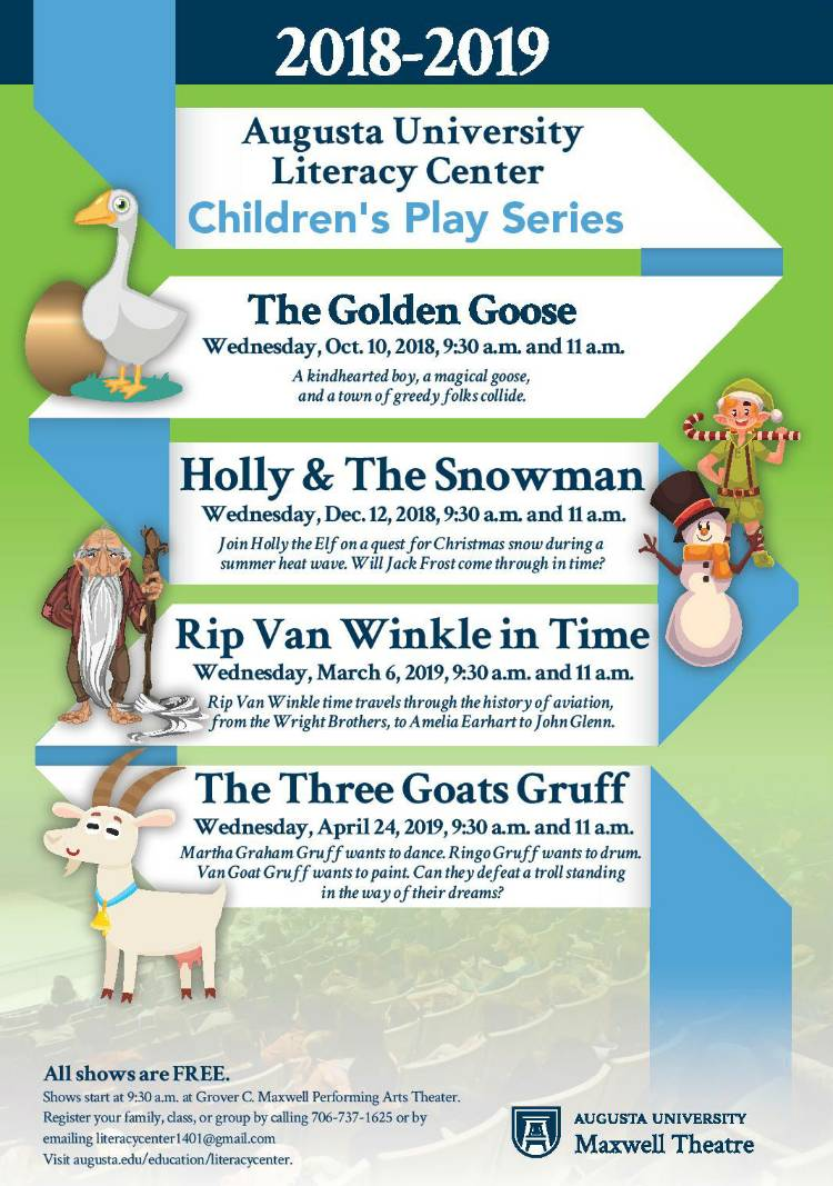 A schedule of the 2018-2019 children's play series.