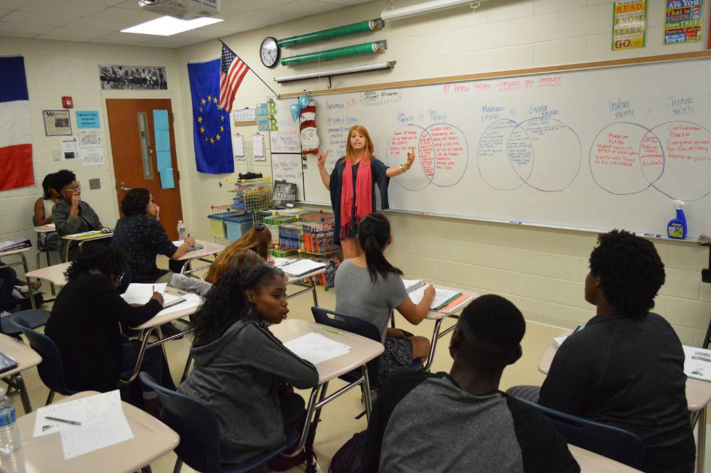 Grovetown High School teacher Laura Reeder instructs students in history.