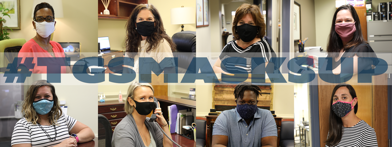 #TGSMaskUp: A collage photo with all graduate school staff wearing face mask