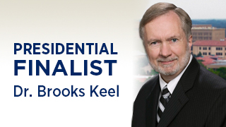 Board of Regents Chair Neil Pruitt and University System of Georgia Chancellor Hank Huckaby have announced a sole finalist for the Georgia Regents University (GRU) presidency, Dr. Brooks Keel.