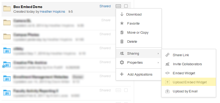 How to create an upload embed widget