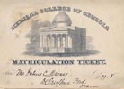 Matriculation Ticket