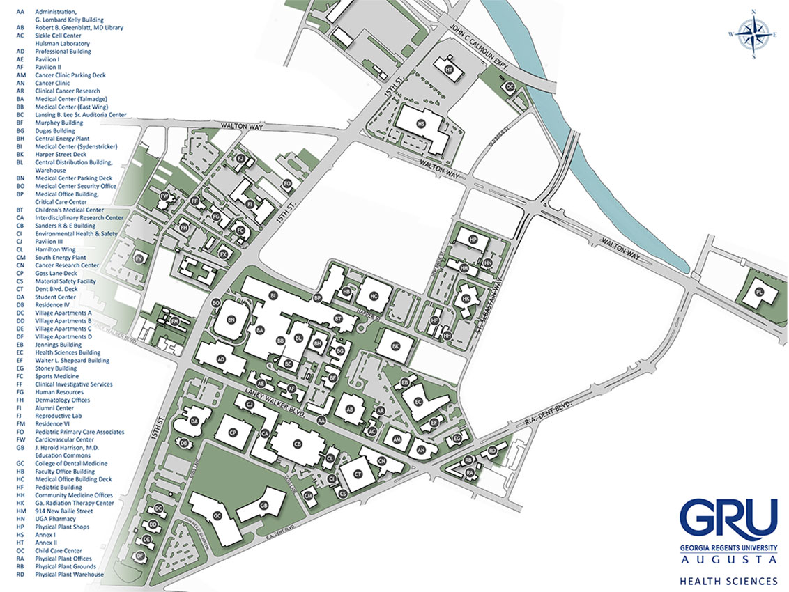 Health Sciences Campus map with building codes