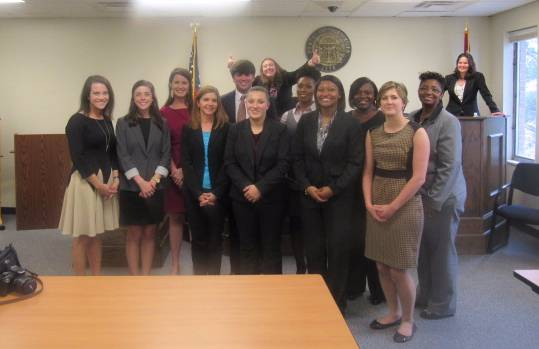 Political science students participate in the mock trial program