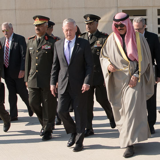 Secretary Mattis in Kuwait to re-affirm the enduring U.S. commitment to partnerships in the Middle East, West Africa and South Asia