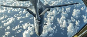 An Air Force B-1B Lancer receives fuel from a KC-135 Stratotanker