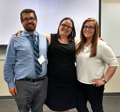 Simon Grant, Staci Reiter, and Melanie Rosier after presenting at Women's and Gender Studies Symposium