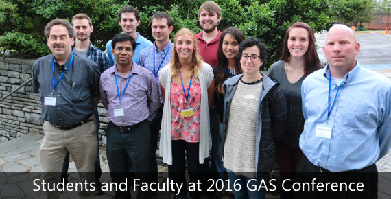 A group of students and faculty posing together as the 2016 GAS Conference