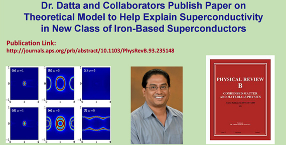 Dr. Datta and images from his published paper on Theoretical Model to Help Explain Superconductivity in New Class of Iron-Based Superconductors