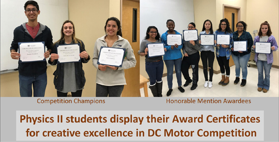 Physics II students display their award certificates for creative excellence in DC Motor competition