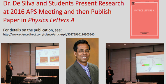 Dr. De Silva and images of students presenting research at 2016 APS meeting