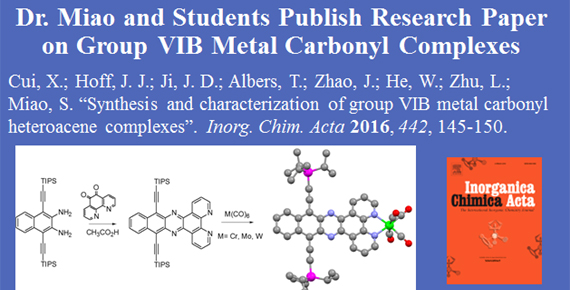 Dr. Miao and Students publish research paper on group VIB Metal Carbonyl Complexes