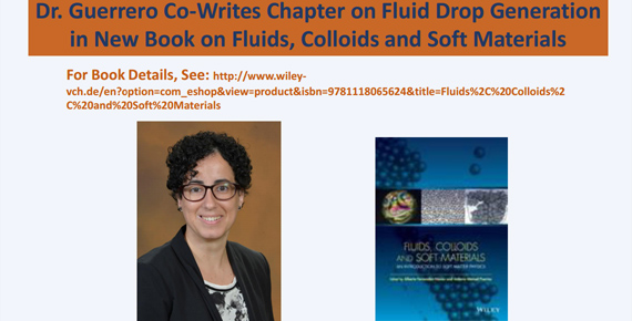 Dr. Guerrero alongside image of book - Fluids, Colloids, and Soft Materials - which she co-wrote a chapter for