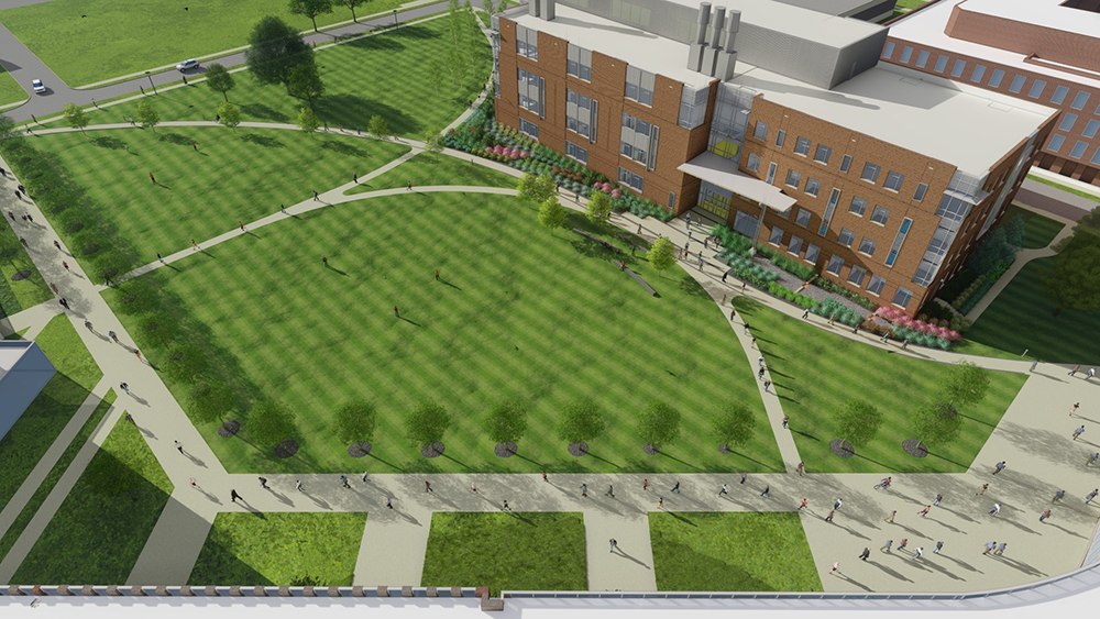 Artist's rendering of the location of the New College of Science and Mathematics building on the Health Sciences Campus